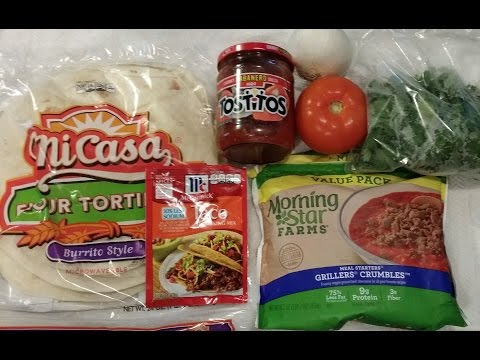 Soy Crumbles Burritos - Meatless Vegetarian Burrito Recipe