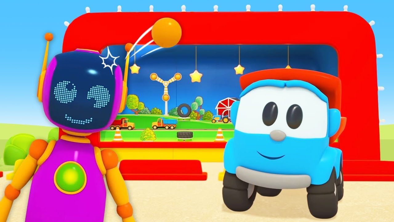 Leo the Truck cartoon for kids. A shooting range for toy cars & trucks for kids.