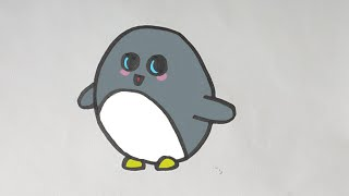 Como dibujar un pingüino kawaii paso a paso - Drawing a cute penguin step by step