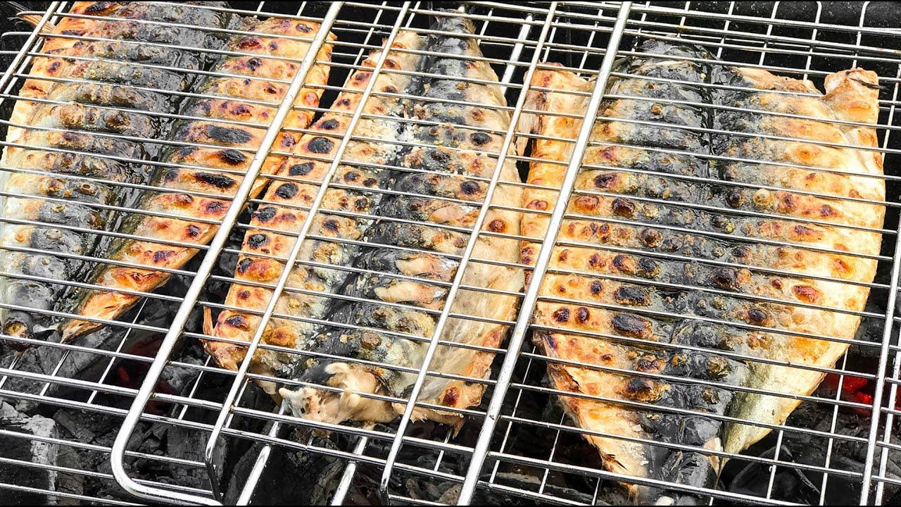 СКУМБРИЯ на Мангале на Гриле - Рецепт вкусной запечённой Рыбы
