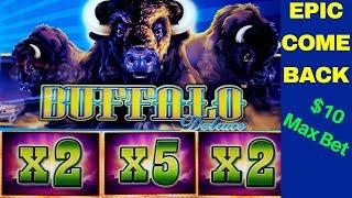 EPIC COMEBACK! $1000 vs BUFFALO Deluxe Slot Machine-$10 Max Bet Bonuses Won | Live Slot Play