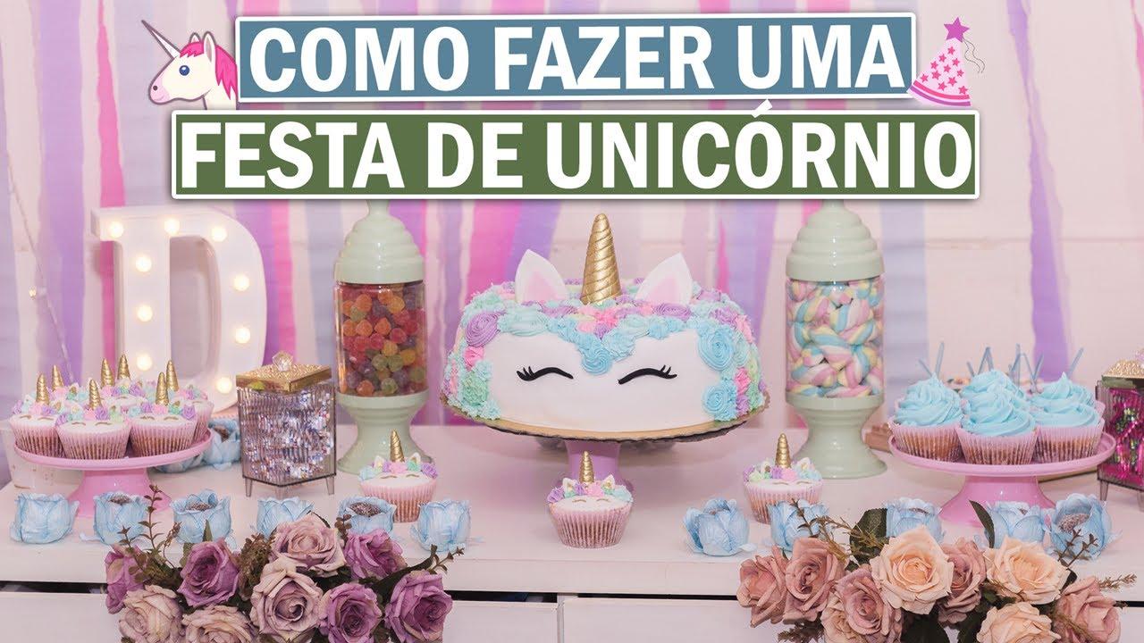 DIY DECORA u00c7ÃO DE FESTA DE UNICÓRNIO EM CASA DAYANE NASCIMENTO YouTube -> Decoração De Festa Infantil Tema Unicornio