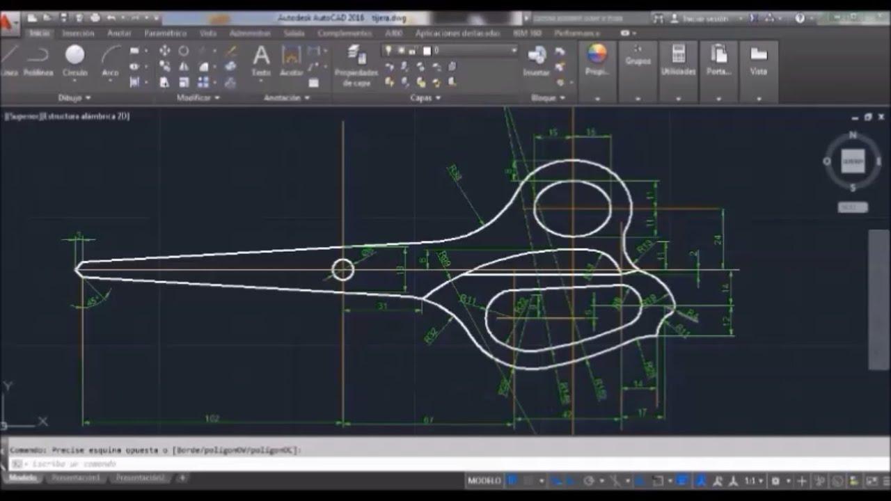 Autocad 2015 dibujo de una tijera 2d youtube for Programa para hacer planos 2d
