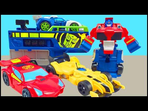 Transformers Rescue Bots Optimus Prime Racing Trailer Bumblebee Sideswipe Racers Playskool Heroes