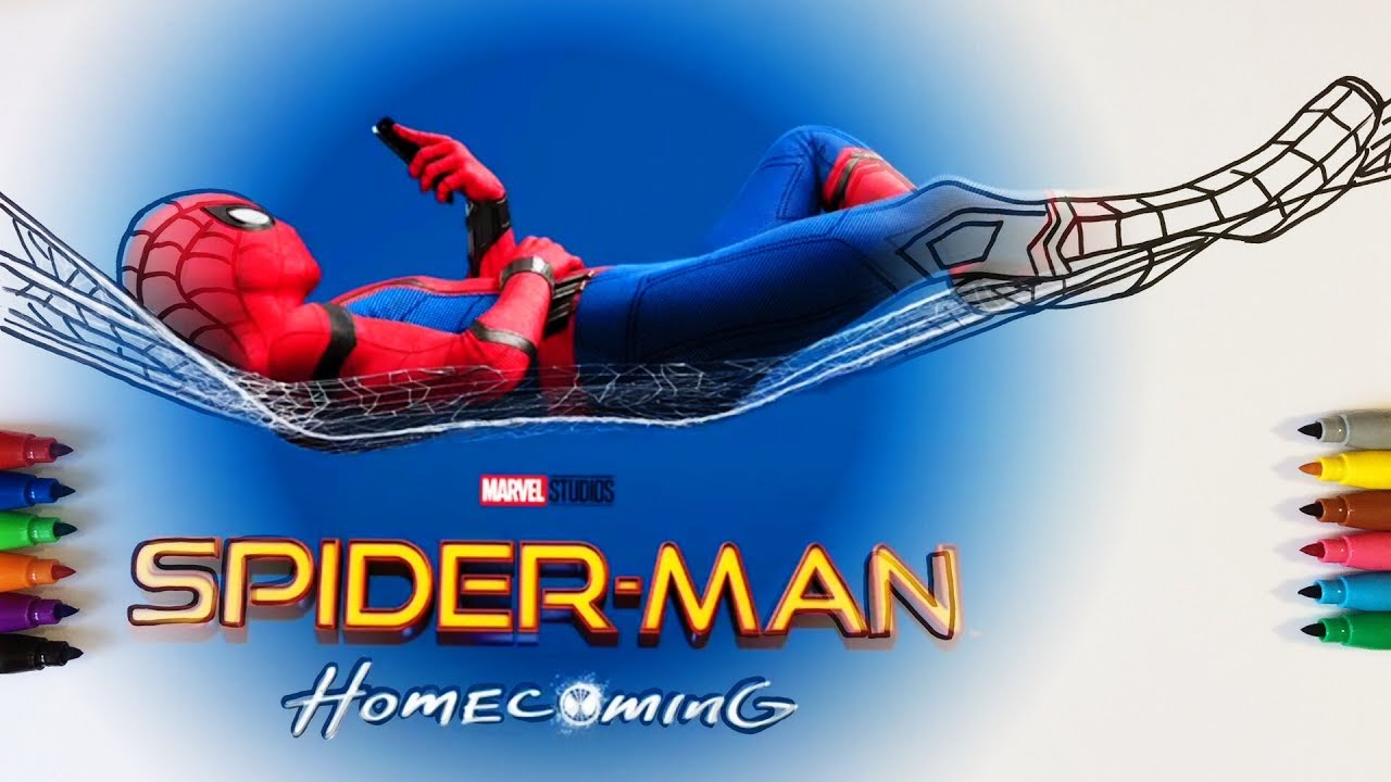 spider man homecoming coloring pages for children with color