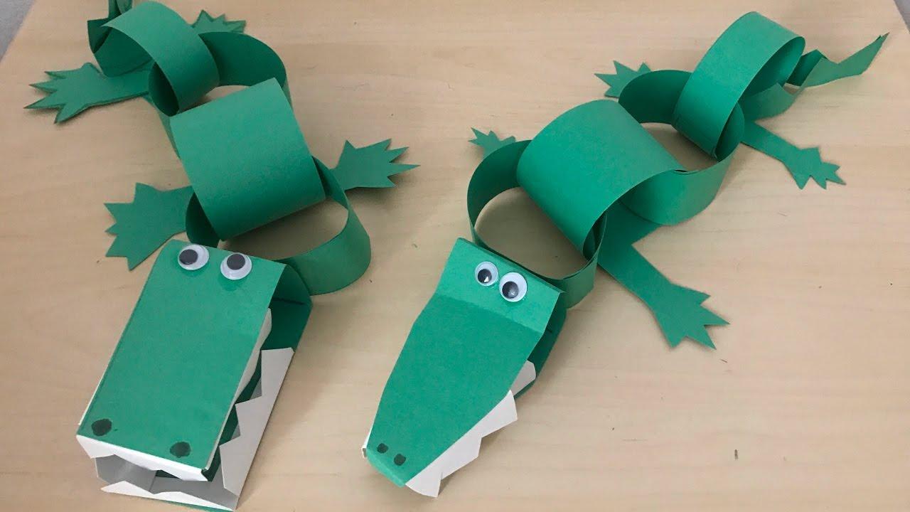 Diy How To Make Paper Alligators Kids Crafts Youtube