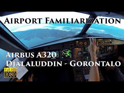 (COCKPIT VIEW Ind) Airbus A320 Landing Gorontalo - Djalaluddin Airport Familiarization