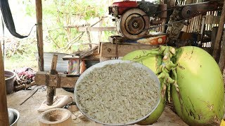 How to Make Traditional Pound Rice In My Village- Eating Pound Rice With Coconut Fruit  - Asian Food