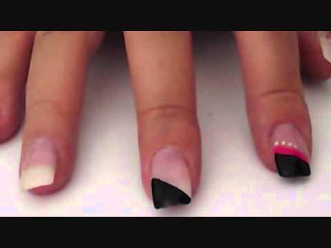 tutorial nageldesign schwarz pink youtube. Black Bedroom Furniture Sets. Home Design Ideas