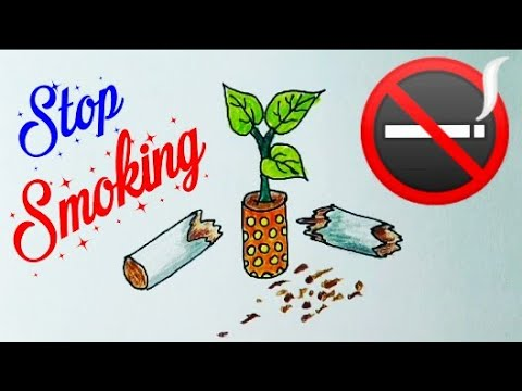 how to draw stop smoking poster step by step quit smoking easily health is wealth drawing