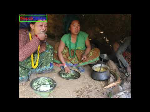 Cooking organic green leaf of nettle and eating food together by family ll Primitive technology