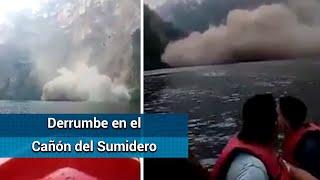 Captan derrumbe en el Cañón del Sumidero, en Chiapas