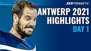 Gasquet Faces Lajovic Delbonis And Van De Zandschulp  N Action Antwerp 2021 Highlights Day 1