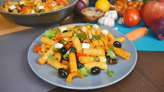 Вкусные МАКАРОНЫ с ОВОЩАМИ за 5 МИНУТ | Любимый УЖИН | Рецепт Пасты с Овощами и Брынзой