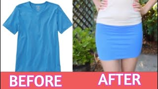 DIY How to make a Skirt from a T shirt-Upcycled t shirt EASY Tutorial -une jupe d'un t-shirt