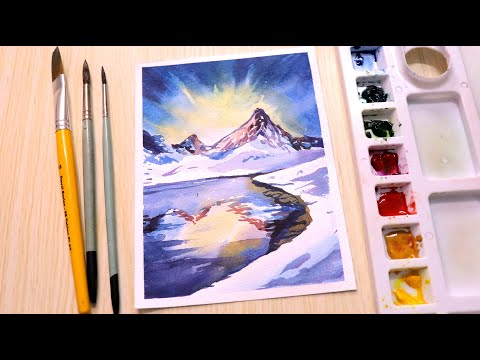 Watercolor painting for beginners mountain landscape easy step by step