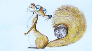 Уроки рисования. Как нарисовать белку СКРАТТИ с ЛЕДНИКОВОГО ПЕРИОДА how to draw ice age(Узнайте больше о материалах для детского творчества на этом сайте http://erichkrause.com ▻ Скачайте видео урок