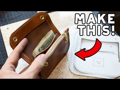 Make A Leather (Mini) Trucker Wallet - Build Along Tutorial - FREE PDF DOWNLOAD!
