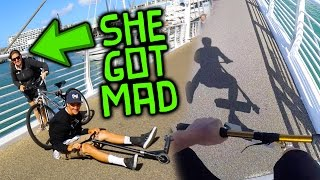 EXTREME SCOOTERING ON MOVING BRIDGE OVER WATER