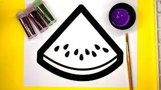 Watermelon Coloring Pages with Glitter and Paint, children learn coloring art with glitter
