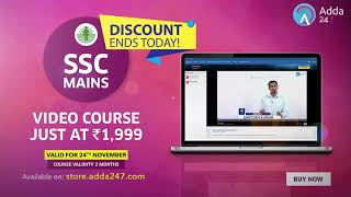 Last Day Offer SSC MAINS VIDEO COURSE JUST AT 1999 - Online SSC CGL Coaching