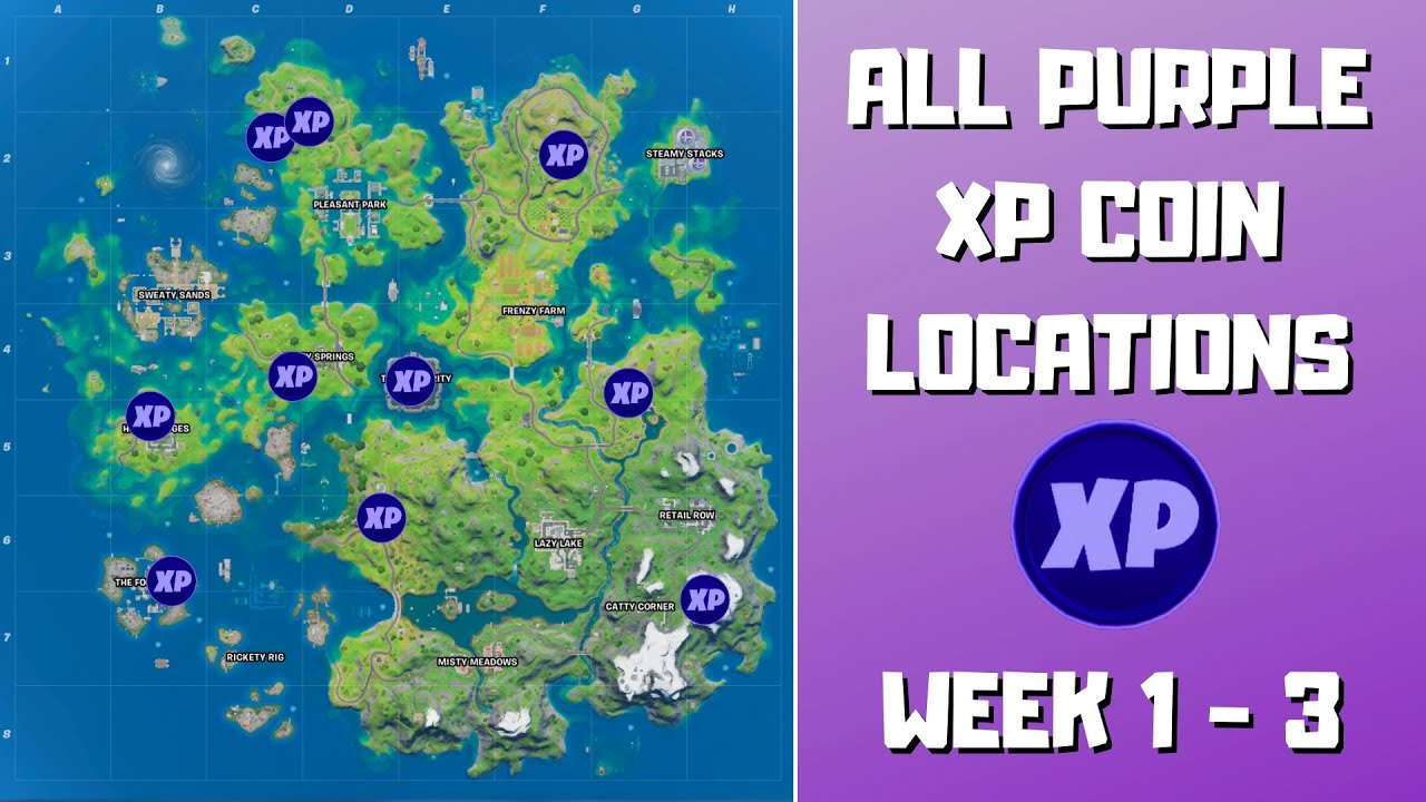 All 10 Purple XP Coins Locations in Fortnite Week 1-3! - Fortnite Chapter 2 Season 3