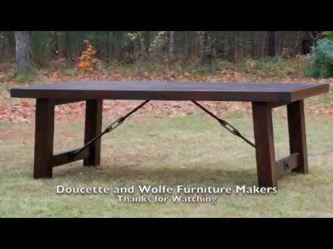 Rustic dining table handmade by doucette and wolfe furniture makers