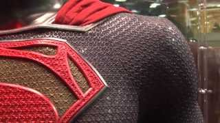 SUPERMAN MAN OF STEEL ACTUAL MOVIE PROP SUITS ON DISPLAY HIGH DEFINITION COMIC CON 2013