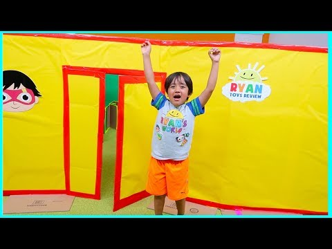 ryan-giant-box-fort-mansion-pretend-play-house-tour!!!