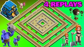 4 REPLAYS !! BEST TH12 War Base 2018 Anti 1 Star/Anti 2 Star With Replays Anti Everything
