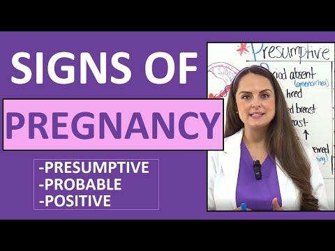 Signs of Pregnancy Presumptive, Probable, Positive Nursing Mnemonic NCLEX Maternity