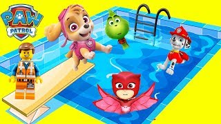 Paw Patrol Playground Waterslide Pool Compilation with The  Grinch and Lego Movie 2 Emmet