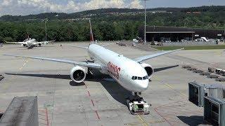 SWISS Boeing 777-300ER sunny departure at Zurich Airport