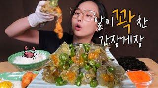 [SUB]알 꽉찬 간장게장?리얼먹방Ganjang-gejang Mukbang Soy sauce marinated raw crabs ASMR #밥도둑#게장#eating#mukbang