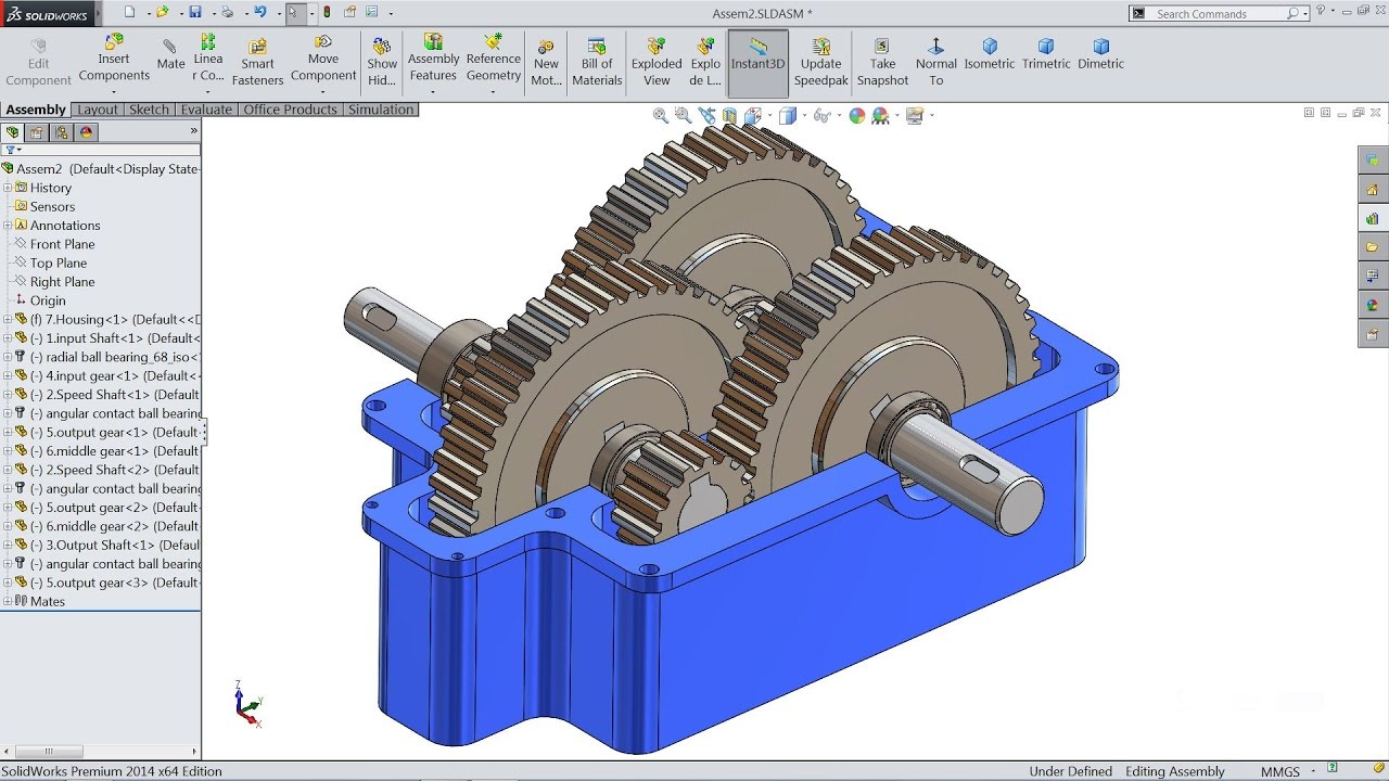 Solidworks tutorial | sketch Gear Speed Reducer in Solidworks