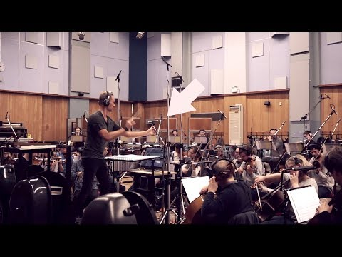 Brian Tyler Conducts and Moves Mic at Abbey Road
