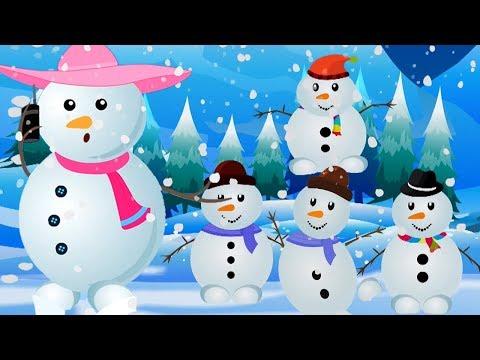 cinque piccoli pupazzi di neve | natalizie rime | pupazzi di neve per bambini | Five Little Snowmen