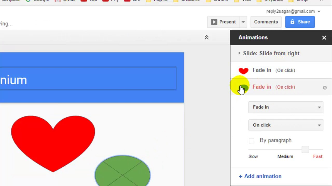 How to insert animations on objects in Google Slides