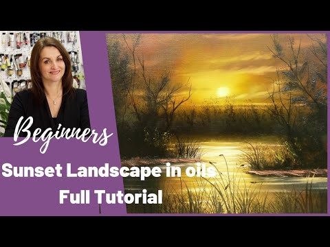 Sunset Landscape Oil Painting Tutorial For Beginners Simple Silhouette -Full tutorial Paint with Maz