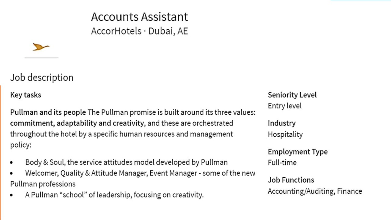 Accounting Istant Job Description | Account Assistant Job Vacancy In Hotel Dubai Youtube