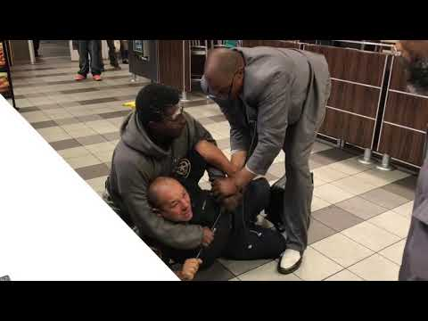 Security guard fights for his life at Mcdonalds  Santa Monica CA  USA