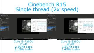 Intel Core i5-7200U vs i5-8250U - Cinebench R15 Single and Multithreaded Performance