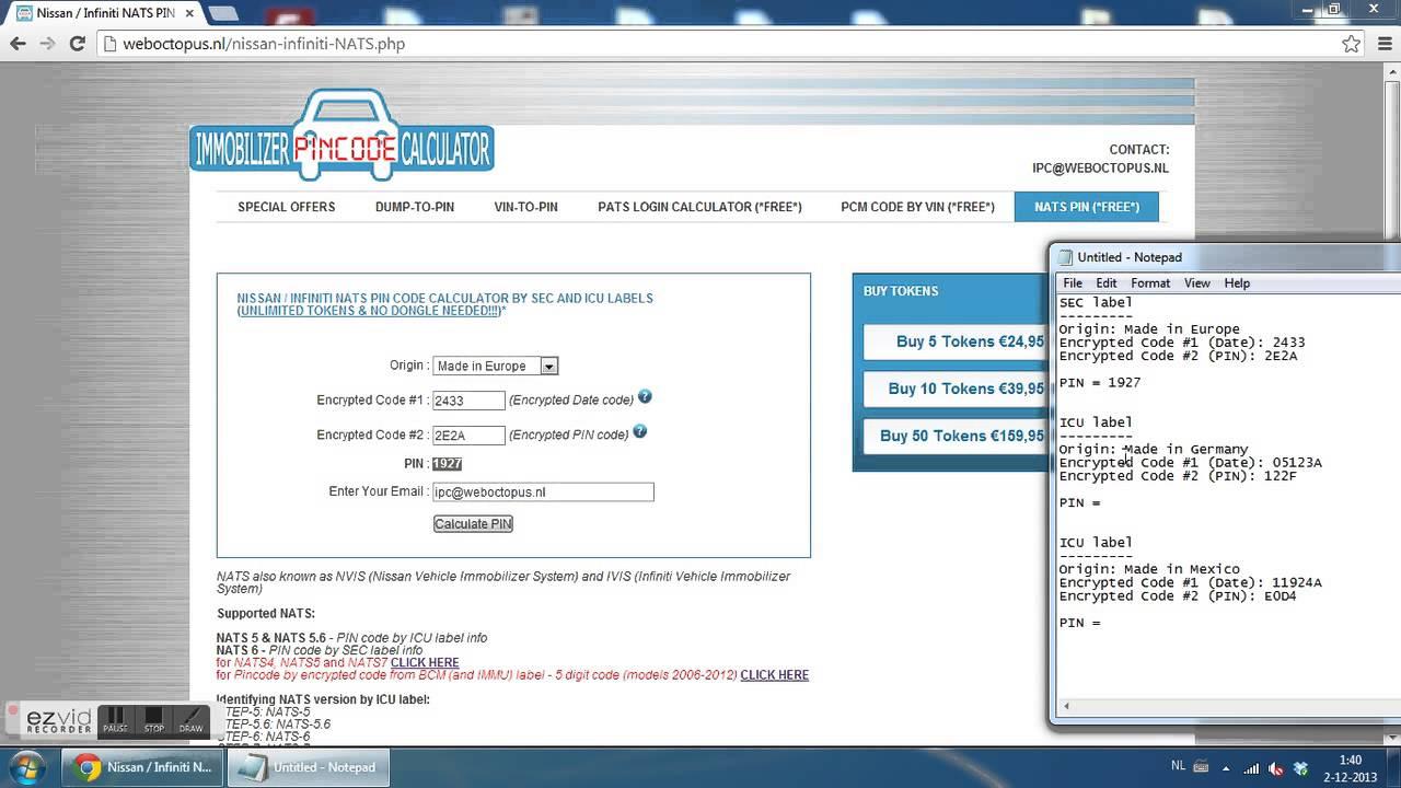 2014 Maxima Wiring Diagram Free Nissan Infiniti Nats Pin Code Calculator By Sec
