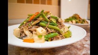 Гречневая лапша Соба с овощами и Тофу. Рецепт японской кухни