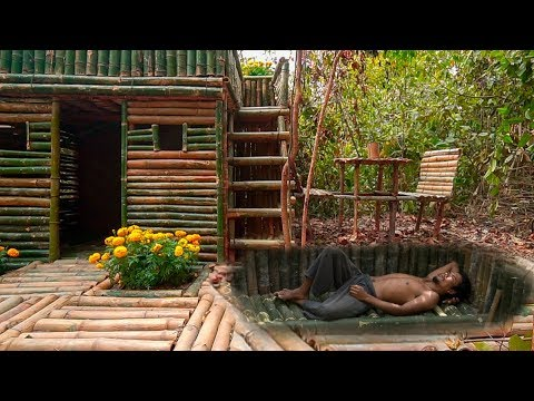 Dig to Build Most Secret Underground House under Bamboo Pool House