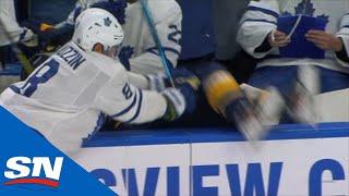 Jake Muzzin's Massive Hit Leads To Goal For Maple Leafs' Trevor Moore