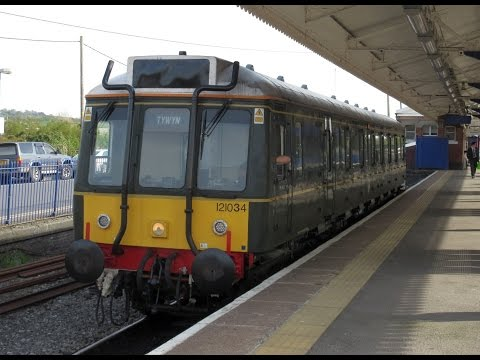 UK: At Princes Risborough, Class 121 DMU no.55034 departs on the 1804 to Aylesbury