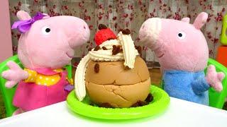 Игрушки Свинка Пеппа иДжордж готовят торт— Маленькие свинки одни дома— Видео для детей
