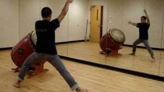 Miles Endo of Brown Gendo Taiko demonstrates playing Renshuu Taiko....