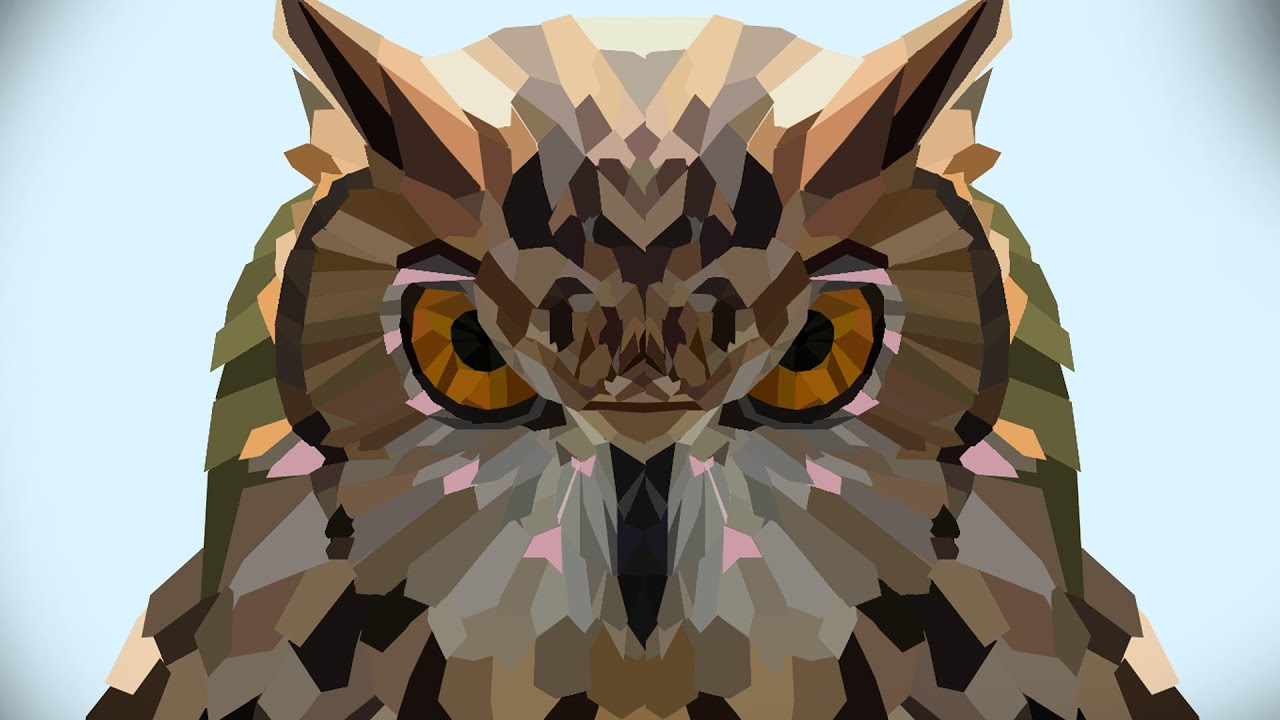 Speed Art Abstract Owl Wallpaper Lowpoly